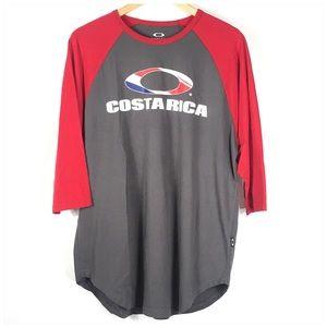 Oakley Costa Rica Raglan Red Gray Men's Shirt